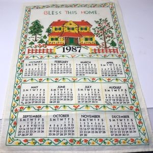 Vintage Bless This Home Tea Towel 1987
